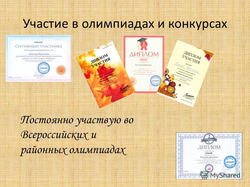 Участие в олимпиадах и конкурсах Постоянно участвую во Всероссийских и районных олимпиадах