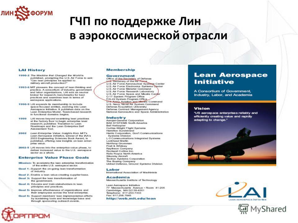 ГЧП по поддержке Лин в аэрокосмической отрасли