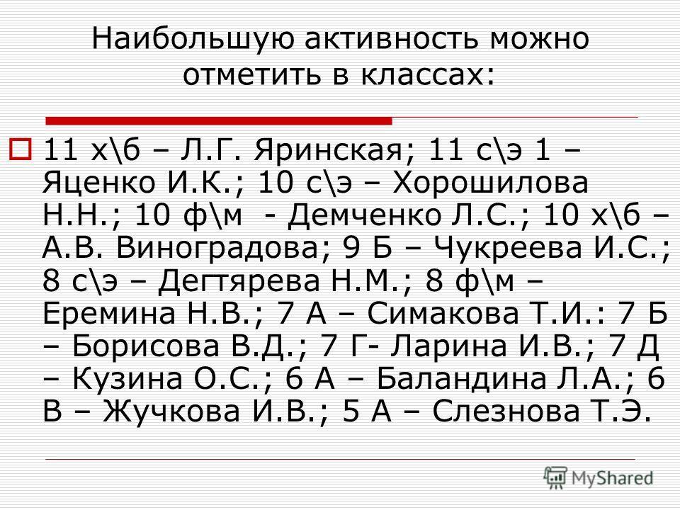 Наибольшую активность можно отметить в классах: 11 х\б – Л.Г. Яринская; 11 с\э 1 – Яценко И.К.; 10 с\э – Хорошилова Н.Н.; 10 ф\м - Демченко Л.С.; 10 х\б – А.В. Виноградова; 9 Б – Чукреева И.С.; 8 с\э – Дегтярева Н.М.; 8 ф\м – Еремина Н.В.; 7 А – Сима
