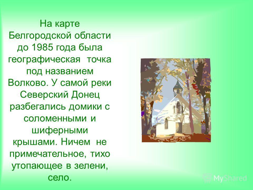 На карте Белгородской области до 1985 года была географическая точка под названием Волково. У самой реки Северский Донец разбегались домики с соломенными и шиферными крышами. Ничем не примечательное, тихо утопающее в зелени, село.