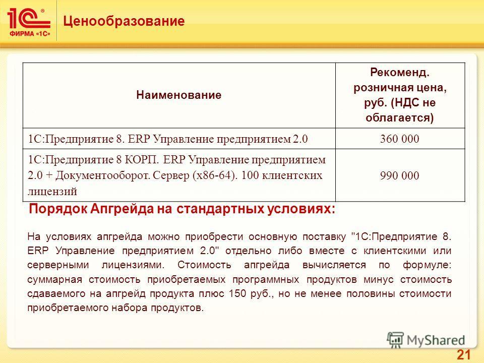21 Ценообразование Наименование Рекоменд. розничная цена, руб. (НДС не облагается) 1С:Предприятие 8. ERP Управление предприятием 2.0360 000 1С:Предприятие 8 КОРП. ERP Управление предприятием 2.0 + Документооборот. Cервер (x86-64). 100 клиентских лице