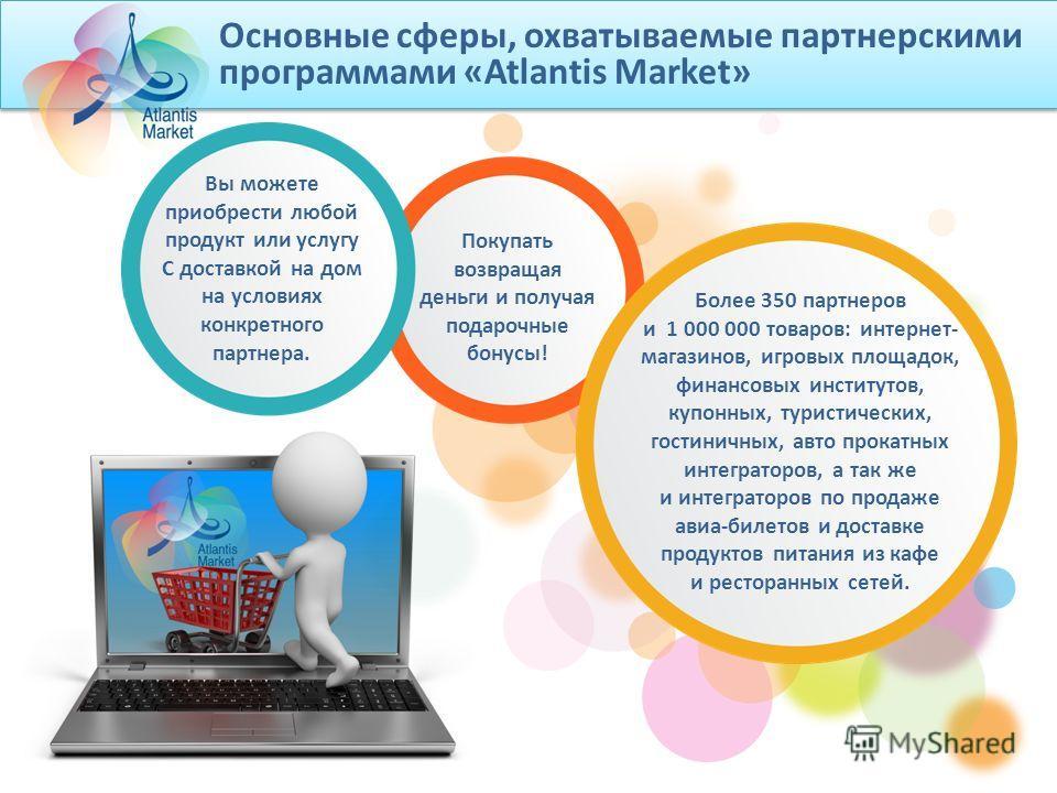 Основные сферы, охватываемые партнерскими программами «Atlantis Market» Более 350 партнеров и 1 000 000 товаров: интернет- магазинов, игровых площадок, финансовых институтов, купонных, туристических, гостиничных, авто прокатных интеграторов, а так же