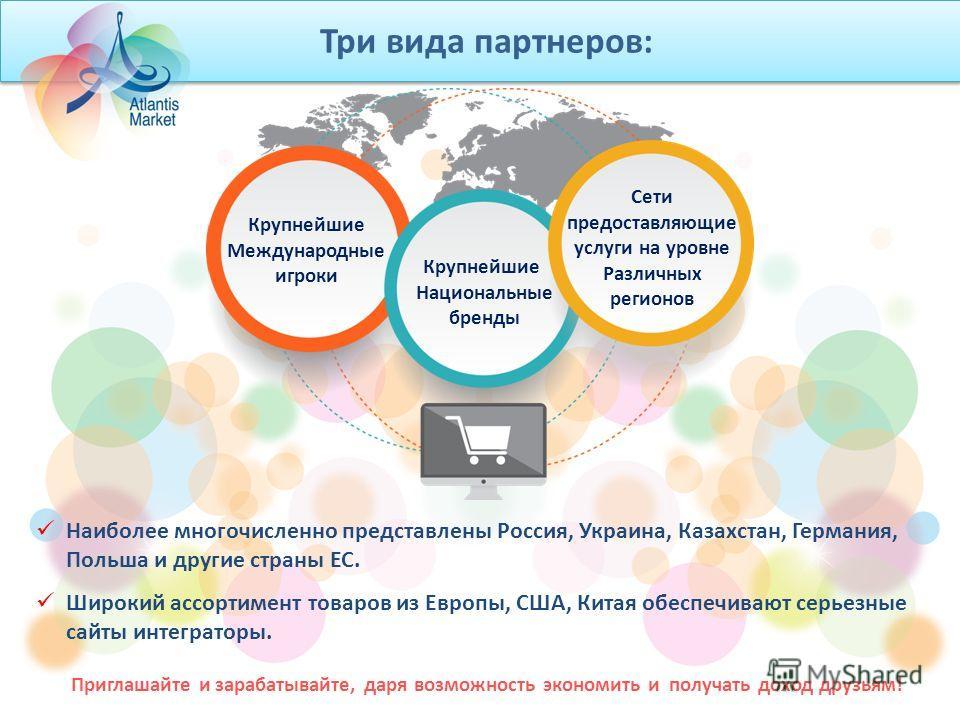 Три вида партнеров: Крупнейшие Международные игроки Сети предоставляющие услуги на уровне Различных регионов Крупнейшие Национальные бренды Наиболее многочисленно представлены Россия, Украина, Казахстан, Германия, Польша и другие страны ЕС. Широкий а