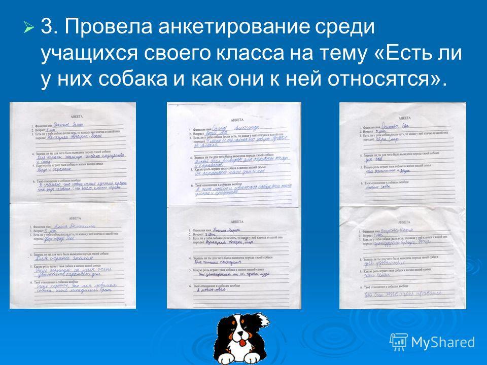 3. Провела анкетирование среди учащихся своего класса на тему «Есть ли у них собака и как они к ней относятся».