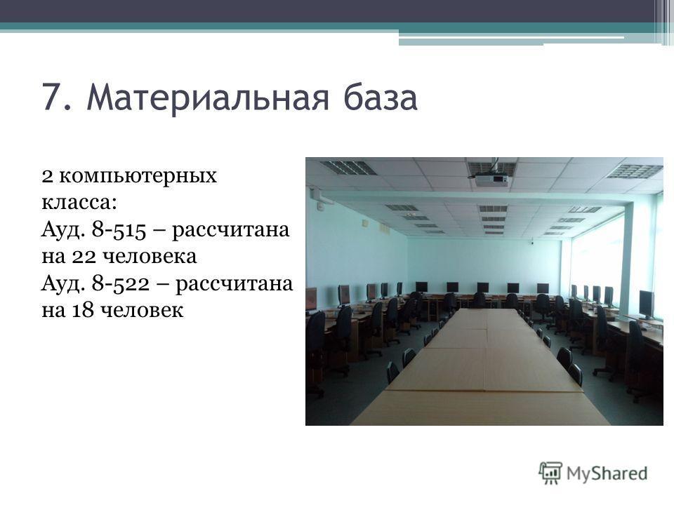 7. Материальная база 2 компьютерных класса: Ауд. 8-515 – рассчитана на 22 человека Ауд. 8-522 – рассчитана на 18 человек