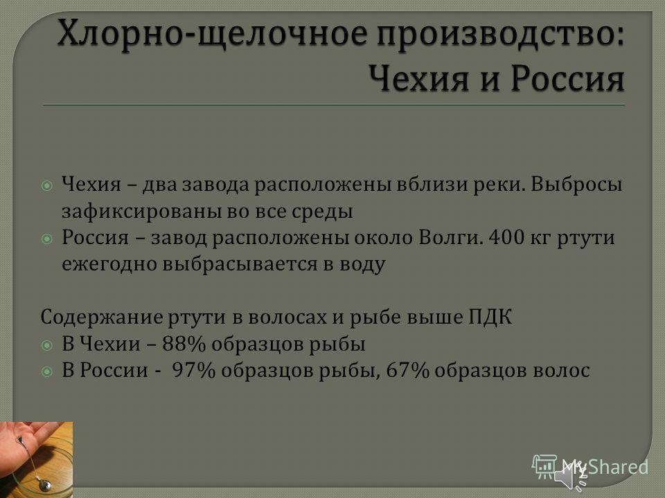 Чехия – два завода расположены вблизи реки. Выбросы зафиксированы во все среды Россия – завод расположены около Волги. 400 кг ртути ежегодно выбрасывается в воду Содержание ртути в волосах и рыбе выше ПДК В Чехии – 88% образцов рыбы В России - 97% об