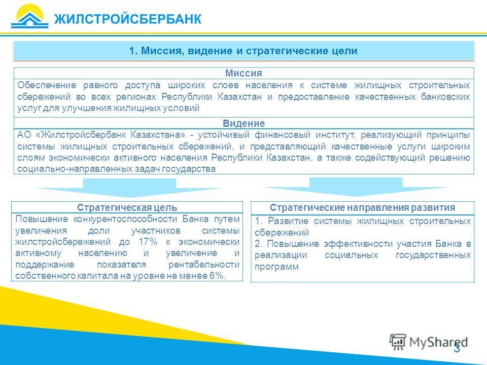 1. Миссия, видение и стратегические цели Миссия Обеспечение равного доступа широких слоев населения к системе жилищных строительных сбережений во всех регионах Республики Казахстан и предоставление качественных банковских услуг для улучшения жилищных