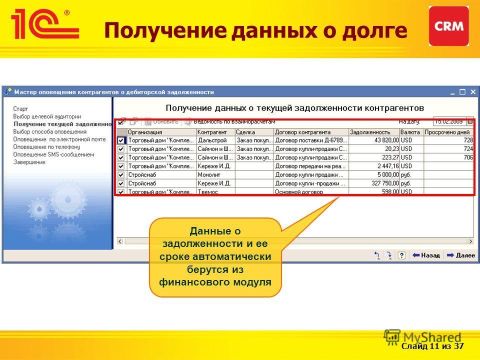 Слайд 11 из 37 Данные о задолженности и ее сроке автоматически берутся из финансового модуля Получение данных о долге