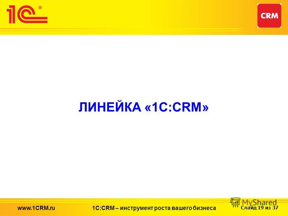 Слайд 19 из 37 ЛИНЕЙКА «1С:CRM» 1С:CRM – инструмент роста вашего бизнесаwww.1CRM.ru