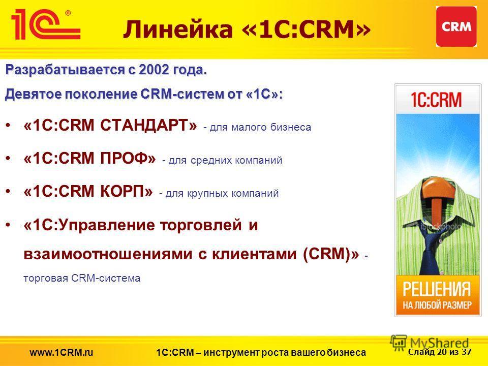 Слайд 20 из 37 Линейка «1С:CRM» Разрабатывается с 2002 года. Девятое поколение CRM-систем от «1С»: «1C:CRM СТАНДАРТ» - для малого бизнеса «1C:CRM ПРОФ» - для средних компаний «1C:CRM КОРП» - для крупных компаний «1С:Управление торговлей и взаимоотнош