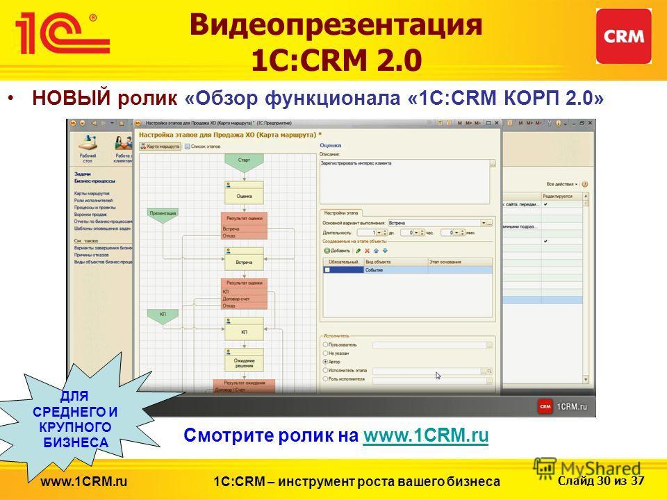 Слайд 30 из 37 Видеопрезентация 1С:CRM 2.0 НОВЫЙ ролик «Обзор функционала «1С:CRM КОРП 2.0» 1С:CRM – инструмент роста вашего бизнесаwww.1CRM.ru Смотрите ролик на www.1CRM.ruwww.1CRM.ru ДЛЯ СРЕДНЕГО И КРУПНОГО БИЗНЕСА