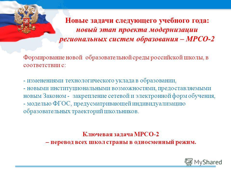 Формирование новой образовательной среды российской школы, в соответствии с: - изменениями технологического уклада в образовании, - новыми институциональными возможностями, предоставляемыми новым Законом - закрепление сетевой и электронной форм обуче