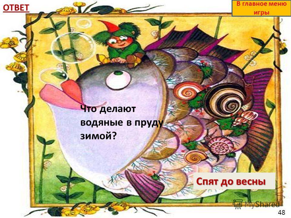 ОТВЕТ Спят до весны В главное меню игры Что делают водяные в пруду зимой? 48