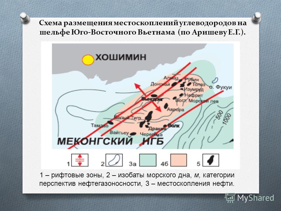 Схема размещения место скоплений углеводородов на шельфе Юго-Восточного Вьетнама (по Аришеву Е.Г.). 1 – рифтовые зоны, 2 – изобаты морского дна, м, категории перспектив нефтегазоносности, 3 – место скопления нефти.