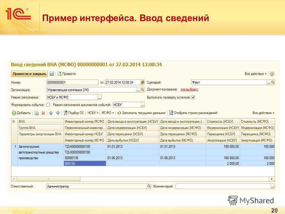 Пример интерфейса. Ввод сведений 20