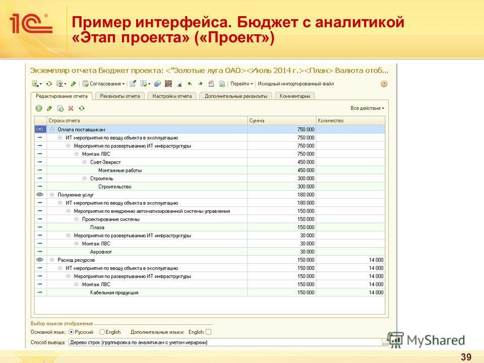 Пример интерфейса. Бюджет с аналитикой «Этап проекта» («Проект») 39
