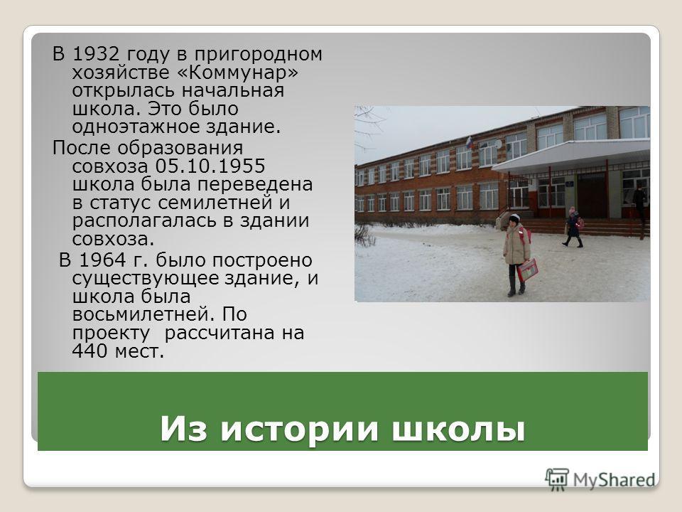 Из истории школы В 1932 году в пригородном хозяйстве «Коммунар» открылась начальная школа. Это было одноэтажное здание. После образования совхоза 05.10.1955 школа была переведена в статус семилетней и располагалась в здании совхоза. В 1964 г. было по