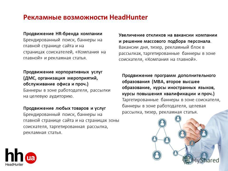Рекламные возможности HeadHunter Увеличение откликов на вакансии компании и решение массового подбора персонала. Вакансии дня, тизер, рекламный блок в рассылках, таргетированные баннеры в зоне соискателя, «Компания на главной». Продвижение HR-бренда