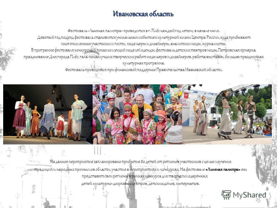 25 Ивановская область Фестиваль «Льняная палитра» проводится в г. Плёс каждый год летом, в начале июля. Девятый год подряд фестиваль становится уникальным событием культурной жизни Центра России, куда прибывают многочисленные участники и гости, модел