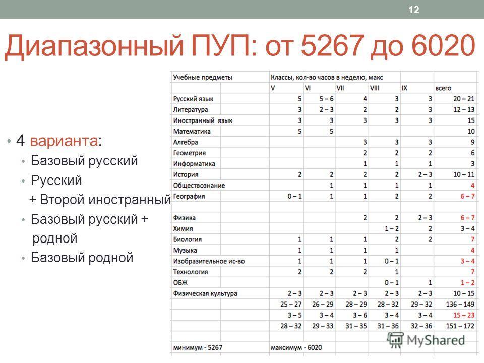 Диапазонный ПУП: от 5267 до 6020 4 варианта: Базовый русский Русский + Второй иностранный Базовый русский + родной Базовый родной 12