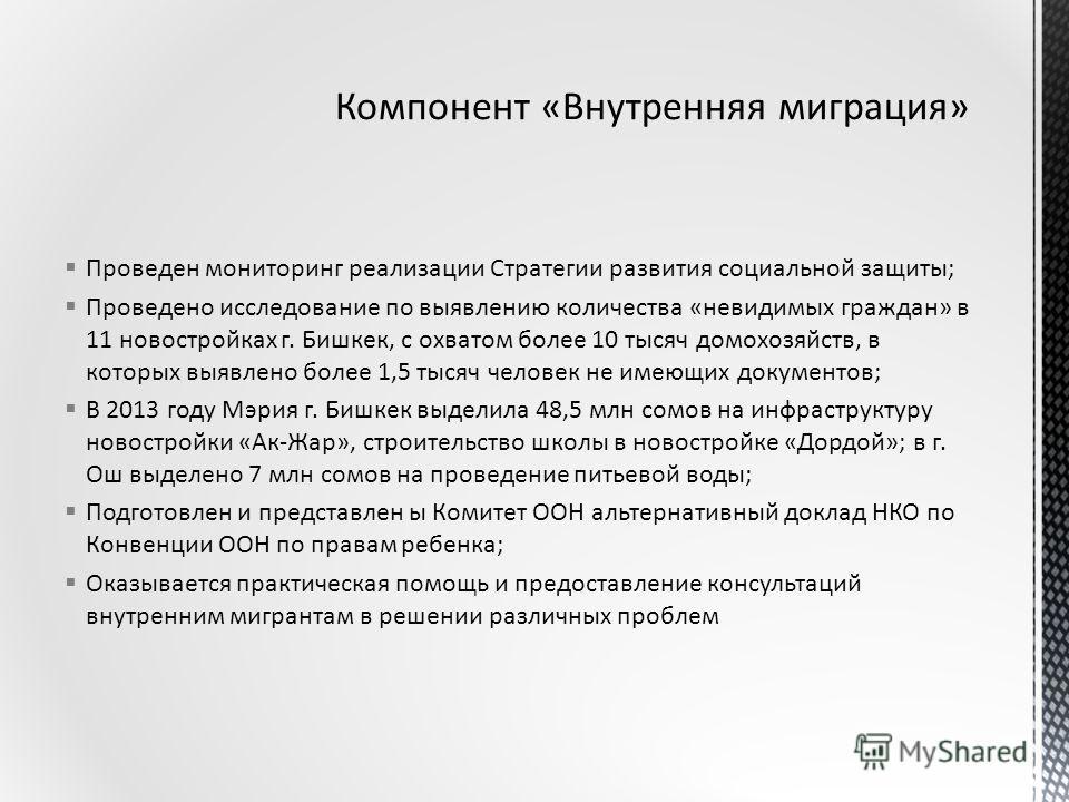 Проведен мониторинг реализации Стратегии развития социальной защиты; Проведено исследование по выявлению количества «невидимых граждан» в 11 новостройках г. Бишкек, с охватом более 10 тысяч домохозяйств, в которых выявлено более 1,5 тысяч человек не