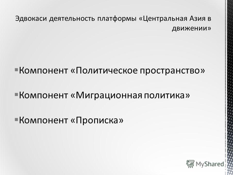 Компонент «Политическое пространство» Компонент «Миграционная политика» Компонент «Прописка»