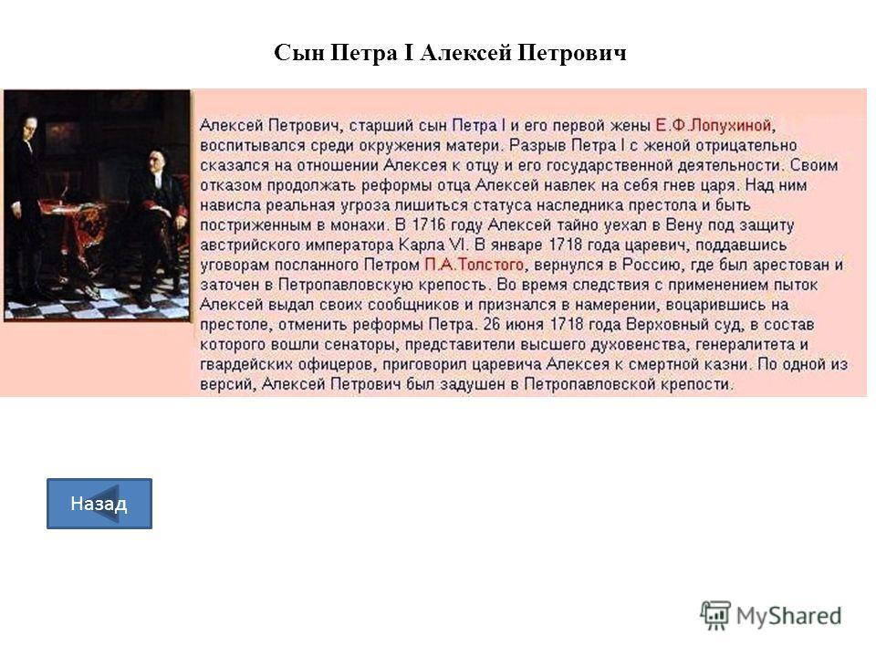Сын Петра I Алексей Петрович Назад