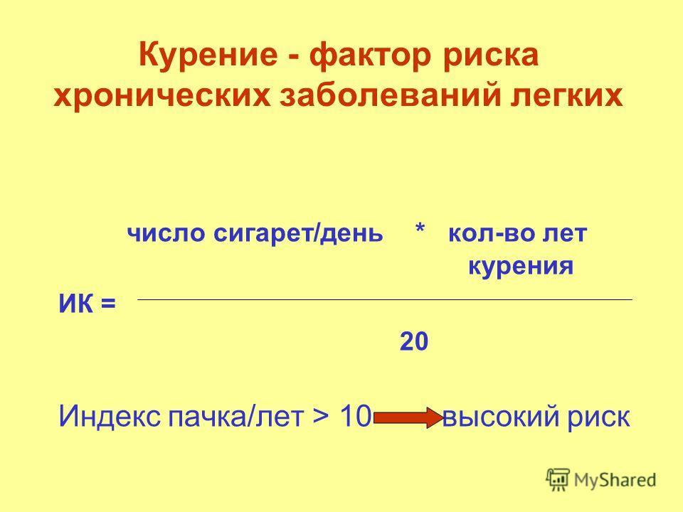 Курение - фактор риска хронических заболеваний легких число сигарет/день * кол-во лет курения ИК = 20 Индекс пачка/лет > 10 высокий риск