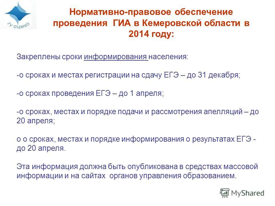 Нормативно-правовое обеспечение проведения ГИА в Кемеровской области в 2014 году: Закреплены сроки информирования населения: -о сроках и местах регистрации на сдачу ЕГЭ – до 31 декабря; -о сроках проведения ЕГЭ – до 1 апреля; -о сроках, местах и поря
