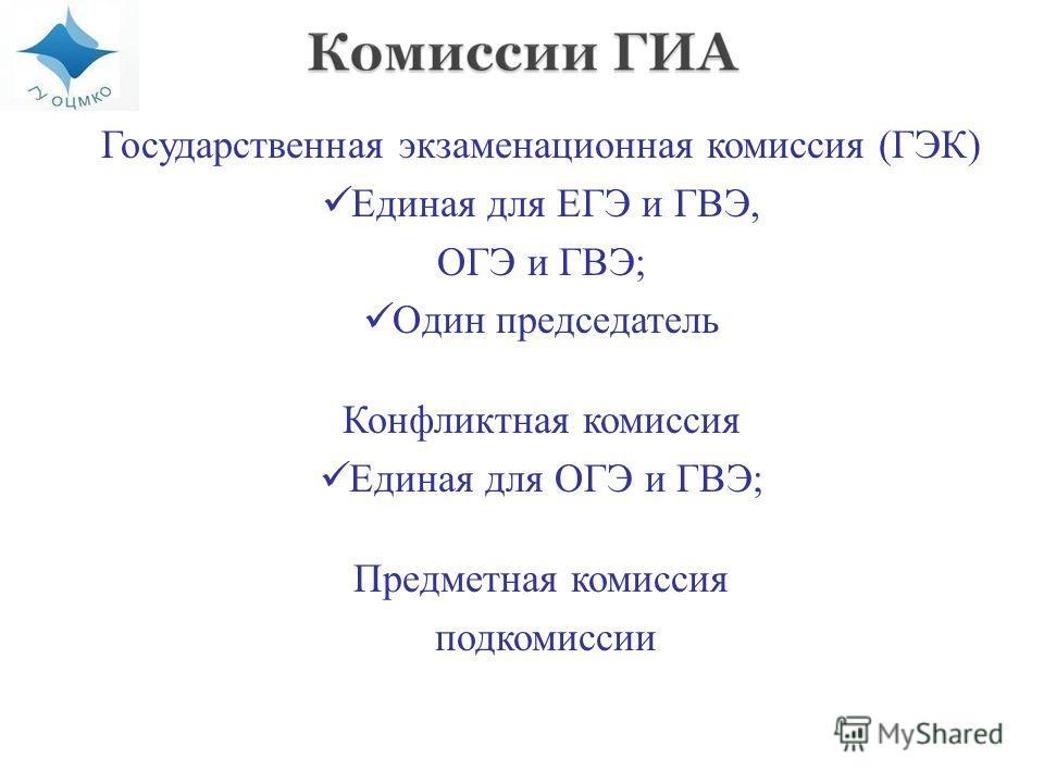 Государственная экзаменационная комиссия (ГЭК) Единая для ЕГЭ и ГВЭ, ОГЭ и ГВЭ; Один председатель Конфликтная комиссия Единая для ОГЭ и ГВЭ; Предметная комиссия подкомиссии