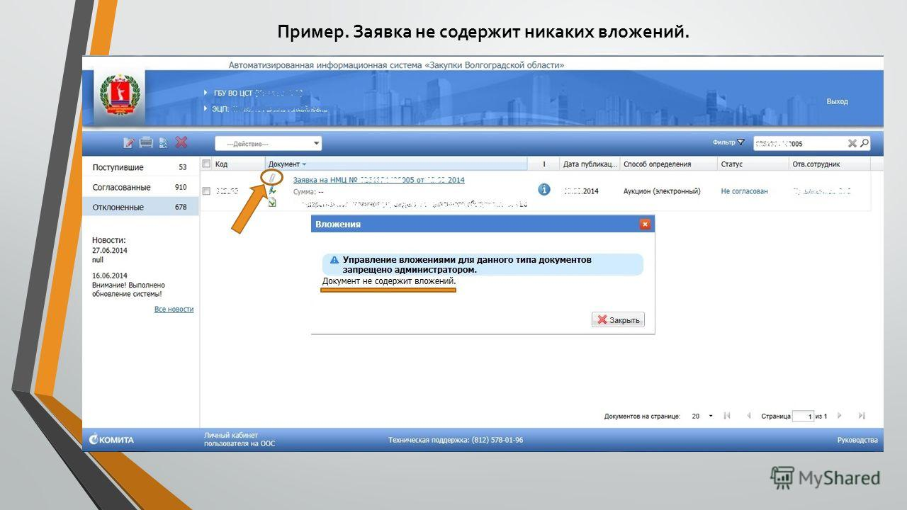 Пример. Заявка не содержит никаких вложений.