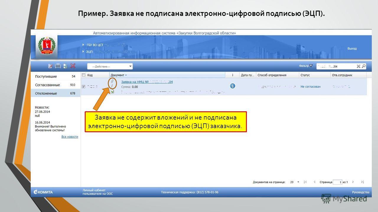 Пример. Заявка не подписана электронно-цифровой подписью (ЭЦП). Заявка не содержит вложений и не подписана электронно-цифровой подписью (ЭЦП) заказчика.