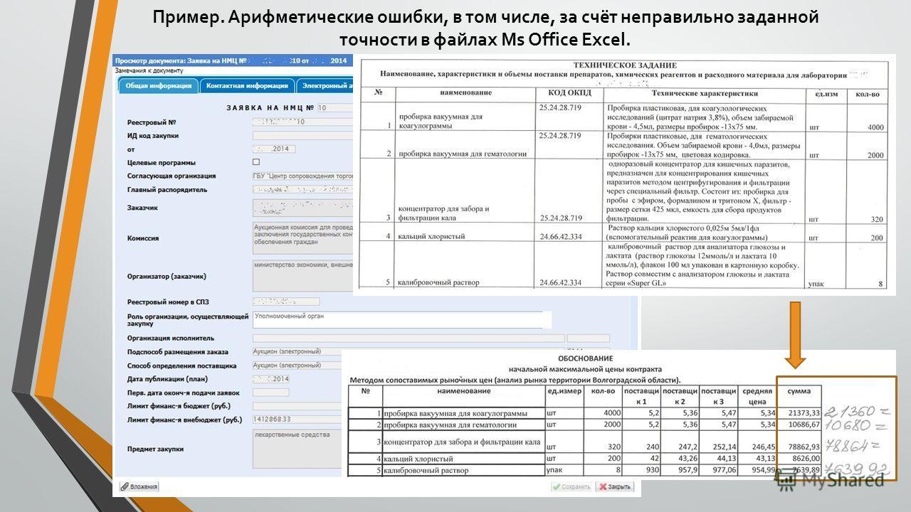 Пример. Арифметические ошибки, в том числе, за счёт неправильно заданной точности в файлах Ms Office Excel.