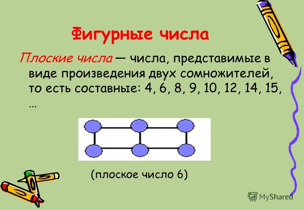 Фигурные числа Плоские числа числа, представимые в виде произведения двух сомножителей, то есть составные: 4, 6, 8, 9, 10, 12, 14, 15, … (плоское число 6)