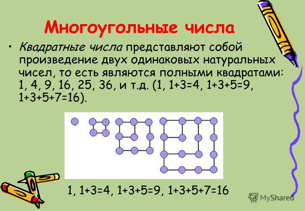Многоугольные числа Квадратные числа представляют собой произведение двух одинаковых натуральных чисел, то есть являются полными квадратами: 1, 4, 9, 16, 25, 36, и т.д. (1, 1+3=4, 1+3+5=9, 1+3+5+7=16). 1, 1+3=4, 1+3+5=9, 1+3+5+7=16