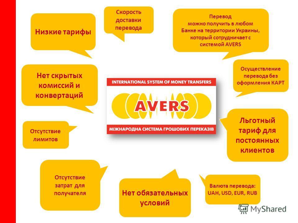 Перевод можно получить в любом Банке на территории Украины, который сотрудничает с системой AVERS Скорость доставки перевода Отсутствие лимитов Нет обязательных условий Отсутствие затрат для получателя Низкие тарифы Нет скрытых комиссий и конвертаций