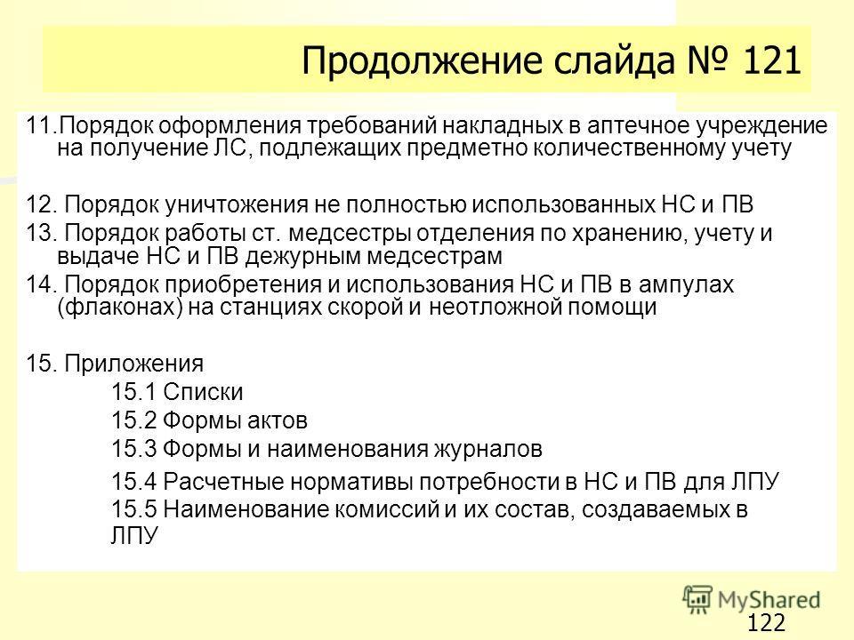Продолжение слайда 121 11. Порядок оформления требований накладных в аптечное учреждение на получение ЛС, подлежащих предметно количественному учету 12. Порядок уничтожения не полностью использованных НС и ПВ 13. Порядок работы ст. медсестры отделени