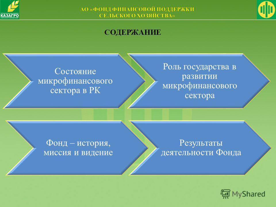 Состояние микрофинансового сектора в РК Роль государства в развитии микрофинансового сектора СОДЕРЖАНИЕ Результаты деятельности Фонда Фонд – история, миссия и видение