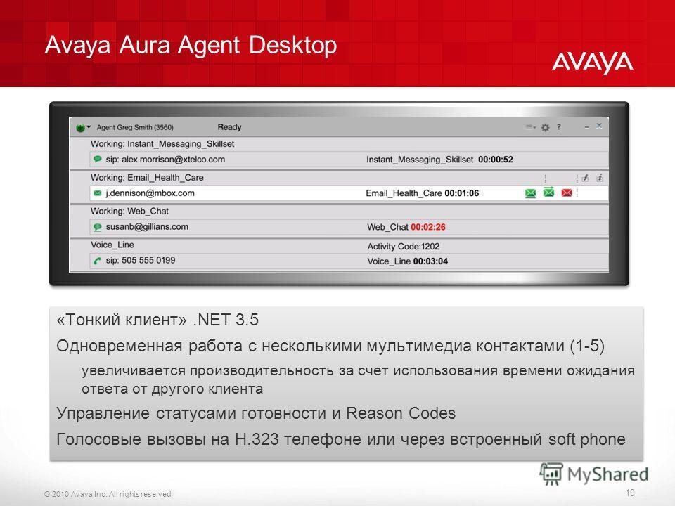 © 2010 Avaya Inc. All rights reserved. Avaya Aura Agent Desktop «Тонкий клиент».NET 3.5 Одновременная работа с несколькими мультимедиа контактами (1-5) увеличивается производительность за счет использования времени ожидания ответа от другого клиента
