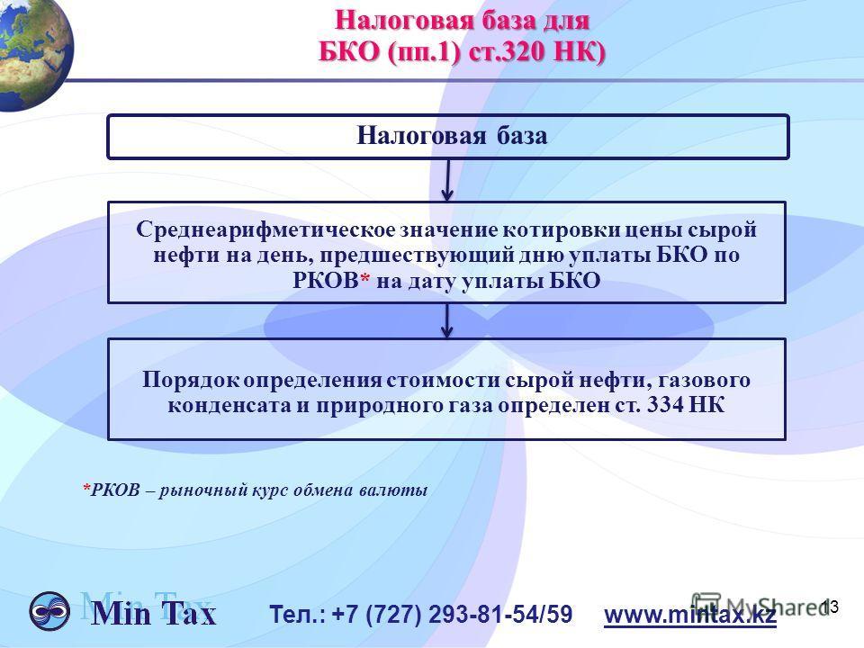13 Тел.: +7 (727) 293-81-54/59 www.mintax.kz Налоговая база для БКО (пп.1) ст.320 НК) Налоговая база Среднеарифметическое значение котировки цены сырой нефти на день, предшествующий дню уплаты БКО по РКОВ* на дату уплаты БКО Порядок определения стоим