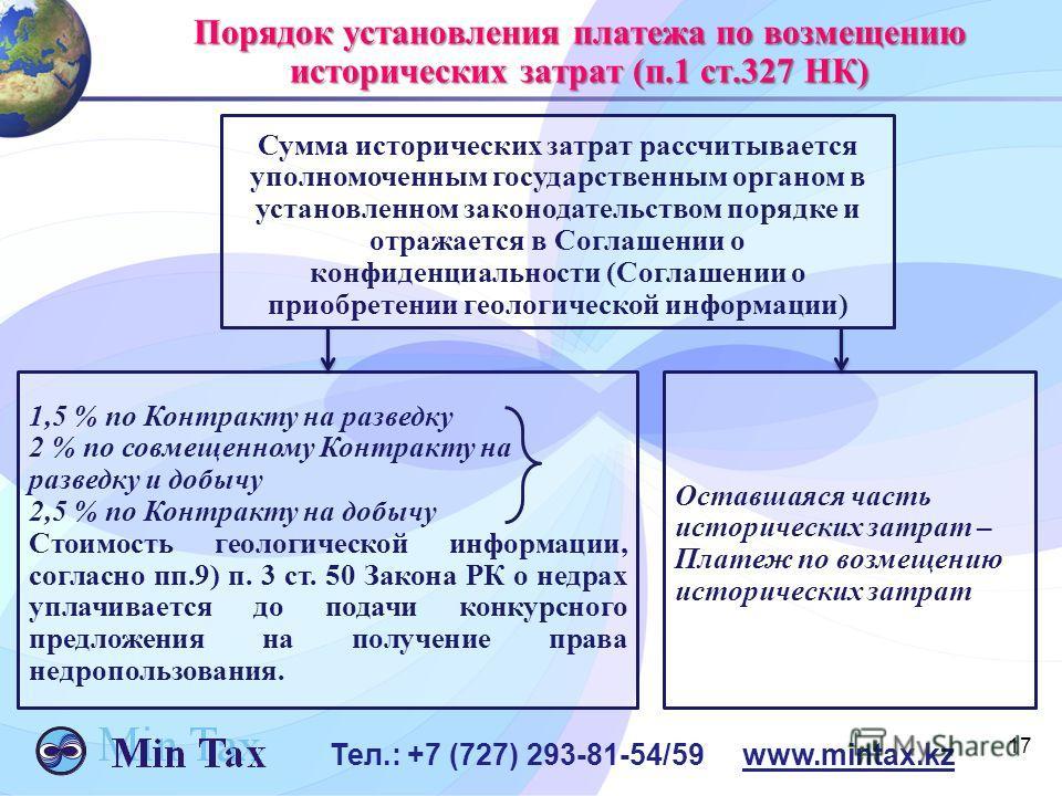 17 Тел.: +7 (727) 293-81-54/59 www.mintax.kz Порядок установления платежа по возмещению исторических затрат (п.1 ст.327 НК) Сумма исторических затрат рассчитывается уполномоченным государственным органом в установленном законодательством порядке и от