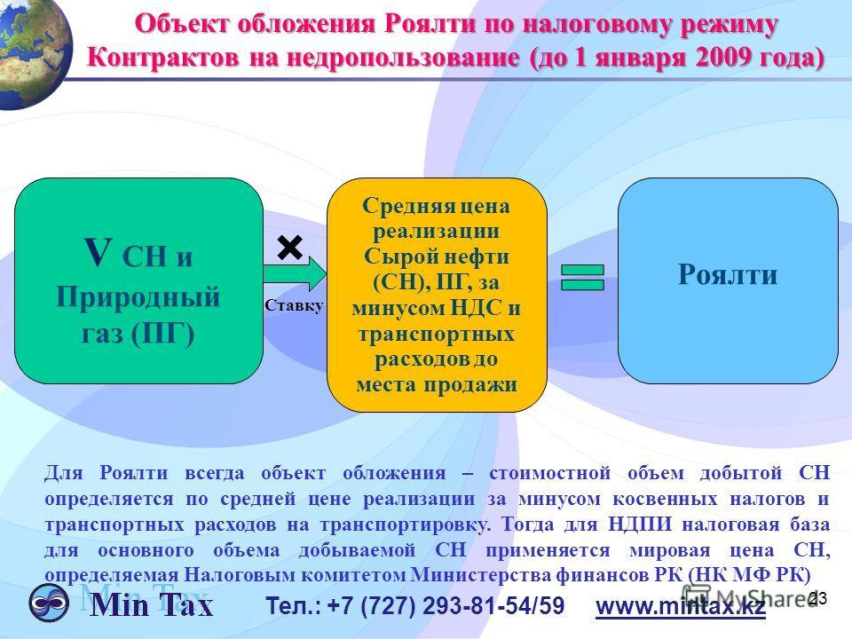 23 Тел.: +7 (727) 293-81-54/59 www.mintax.kz Объект обложения Роялти по налоговому режиму Контрактов на недропользование (до 1 января 2009 года) V СН и Природный газ (ПГ) Роялти Ставку Средняя цена реализации Сырой нефти (СН), ПГ, за минусом НДС и тр