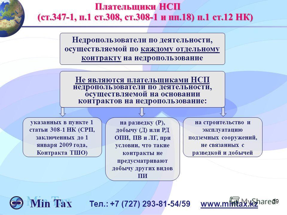 Недропользователи по деятельности, осуществляемой по каждому отдельному контракту на недропользование 39 Тел.: +7 (727) 293-81-54/59 www.mintax.kz Плательщики НСП Плательщики НСП (ст.347-1, п.1 ст.308, ст.308-1 и пп.18) п.1 ст.12 НК) (ст.347-1, п.1 с