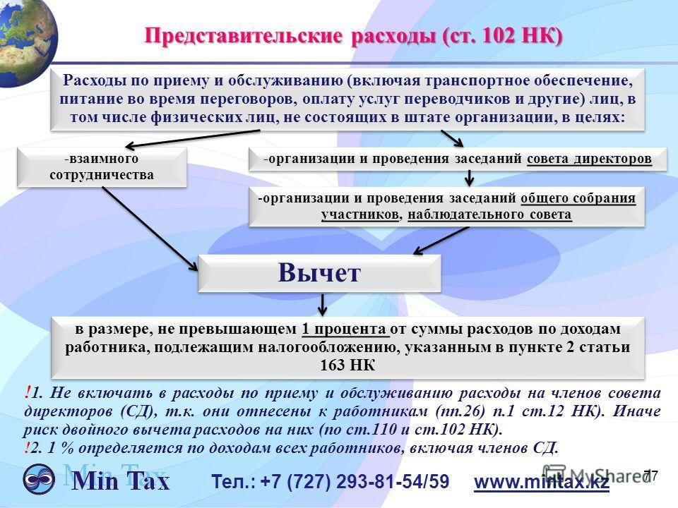 77 Тел.: +7 (727) 293-81-54/59 www.mintax.kz Представительские расходы (ст. 102 НК) Расходы по приему и обслуживанию (включая транспортное обеспечение, питание во время переговоров, оплату услуг переводчиков и другие) лиц, в том числе физических лиц,