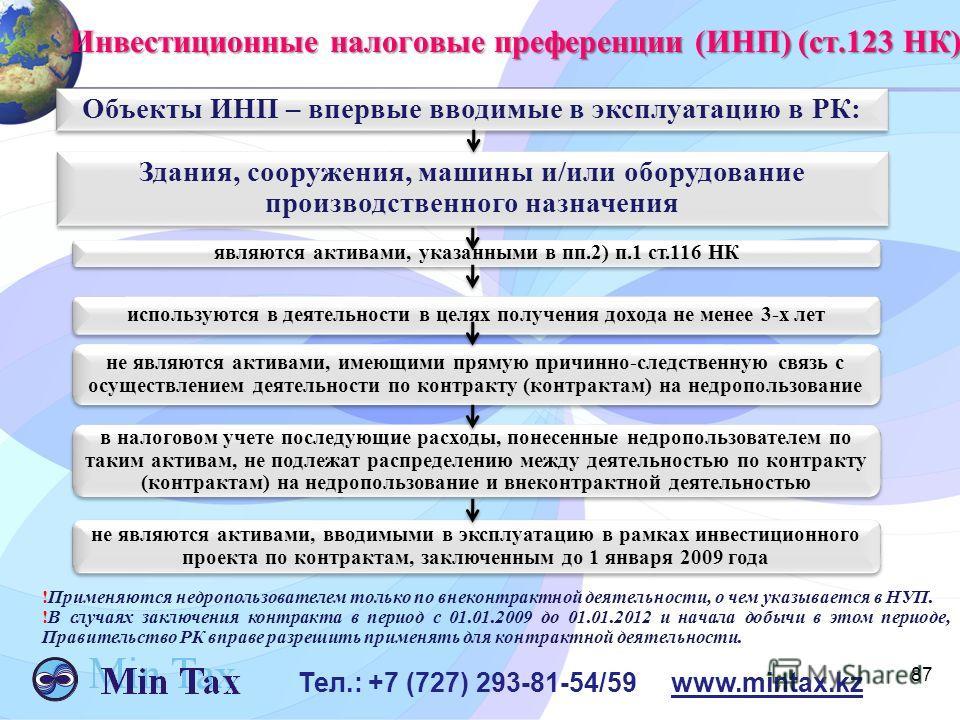 87 Тел.: +7 (727) 293-81-54/59 www.mintax.kz Инвестиционные налоговые преференции (ИНП) (ст.123 НК) Здания, сооружения, машины и/или оборудование производственного назначения являются активами, указанными в пп.2) п.1 ст.116 НК используются в деятельн