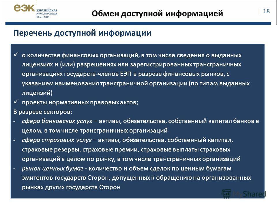   18 Обмен доступной информацией Перечень доступной информации о количестве финансовых организаций, в том числе сведения о выданных лицензиях и (или) разрешениях или зарегистрированных трансграничных организациях государств-членов ЕЭП в разрезе финан