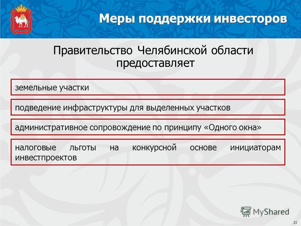 Меры поддержки инвесторов 20 земельные участки Правительство Челябинской области предоставляет подведение инфраструктуры для выделенных участков административное сопровождение по принципу «Одного окна» налоговые льготы на конкурсной основе инициатора