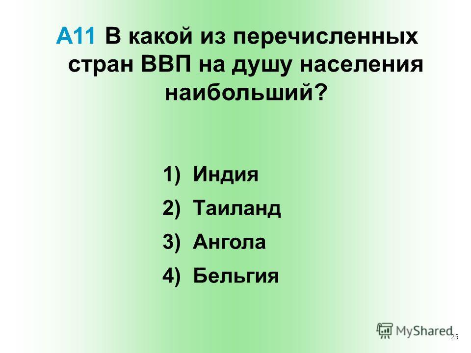 25 А11 В какой из перечисленных стран ВВП на душу населения наибольший? 1) Индия 2) Таиланд 3) Ангола 4) Бельгия
