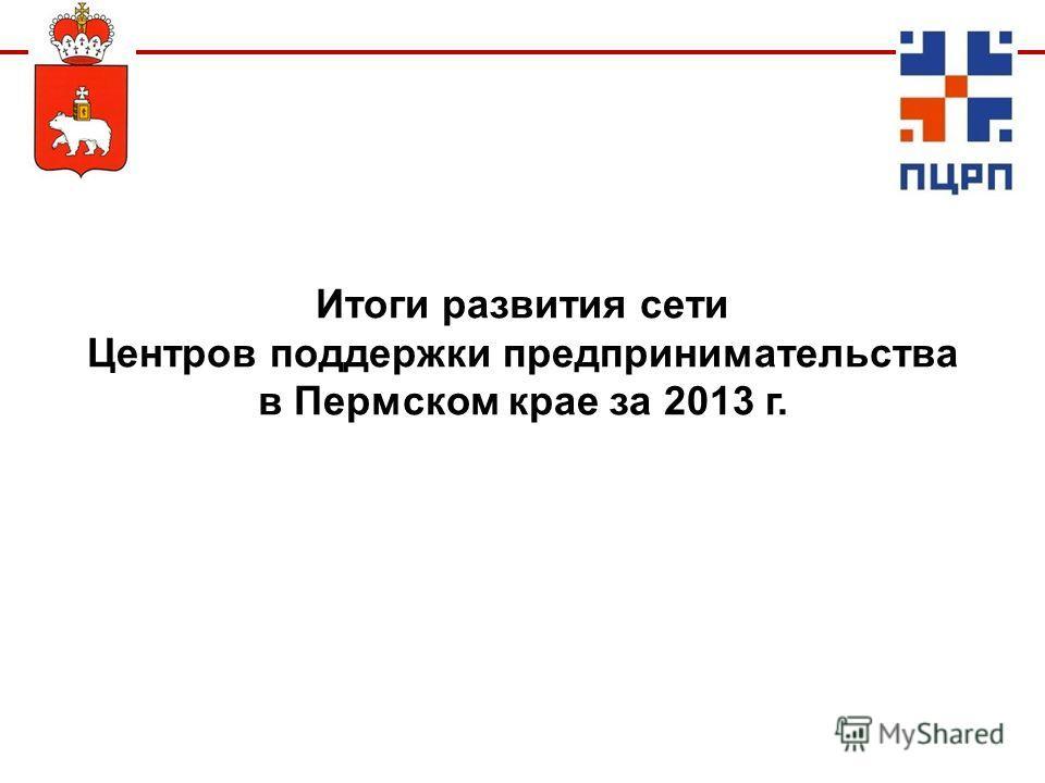 Итоги развития сети Центров поддержки предпринимательства в Пермском крае за 2013 г.