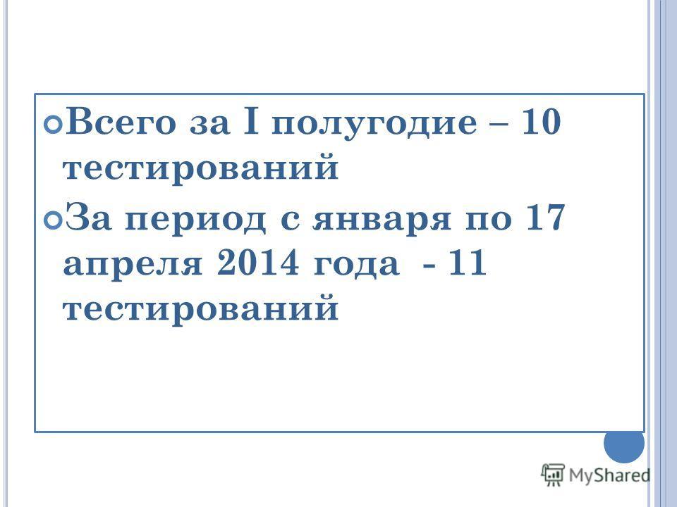 Всего за I полугодие – 10 тестирований За период с января по 17 апреля 2014 года - 11 тестирований